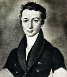 A portrait of Mikhail Glinka as a young man