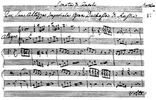 A sample of sheet music, written by Dmytro Bortniansky