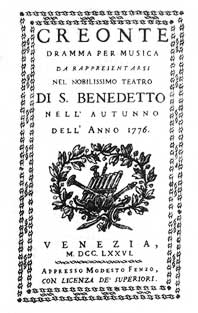 Title page of the libretto to Bortniansky's opera Creonte (premiered in Venice in 1776)