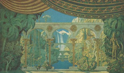 Chernomor's gardens. Stage design for the opera Ruslan and Lyudmila by M. Glinka, 1913. Artist: Ivan Bilibin