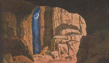 Finn's cave. Stage design for the opera Ruslan and Lyudmila by M. Glinka, 1900. Artist: Ivan Bilibin