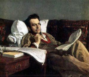 Mikhail Ivanovich Glinka during the composition of the opera Ruslan and Lyudmila, 1887. Artist: Ilya Repin