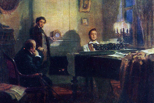 Pushkin and Zhukovsky at Glinka's place, 1953. Artist: Victor Artamonov
