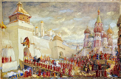 Red square in Moscow. Stage design for the opera A Life for the Tsar by M. Glinka, 1939.
