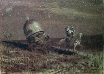 Ruslan and the Head, 1879. Artist: Ivan Kramskoy