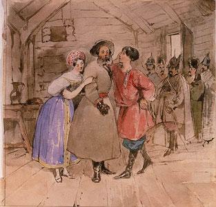 Scene from the opera A Life for the Tsar (Ivan Susanin) by M. Glinka, End 1830s. Artist: Gagarin, Grigori Grigorievich