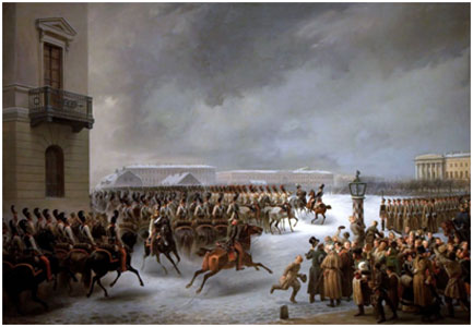 The Decembrist Revolt at the Senate Square on December 14, 1825, a painting by Vasily Timm
