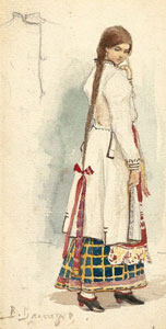 Natasha. Sketch of the costume design for the opera RUSALKA by A. Dargomyzhsky, 1884. Artist: Viktor Vasnetsov