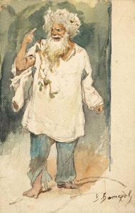 The Miller (Insane). Sketch of the costume design for the opera RUSALKA by A. Dargomyzhsky, 1884. Artist: Viktor Vasnetsov