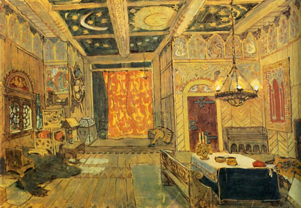 The Princess's palace. Stage design for the opera RUSALKA by A. Dargomyzhsky, 1900. Artist: Alexander Golovin