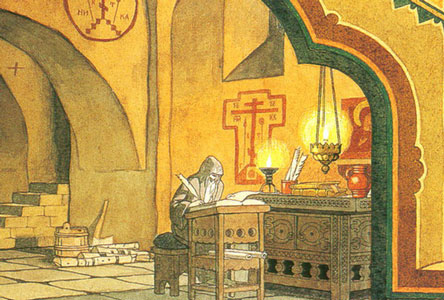 A Cell in the Chudov Monastery. Stage design for the opera Boris Godunov by M. Mussorgsky, 1900s. Artist: I.Bilibin