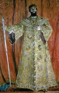 Fyodor Chaliapin in the title role of the opera Boris Godunov by M. Mussorgsky, 1912. Artist: A.Golovin
