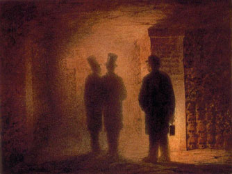 Catacombs (with Viktor Hartmann, Vasily Kenel, and a guide holding the lantern). Artist: Viktor Hartmann
