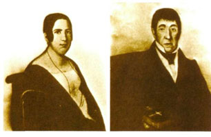 Borodin's parents. Avdotya Konstantinovna Antonova and Luka Stepanovich Gedianov. Photos from lost portraits by Andrey Denyer, 1840.