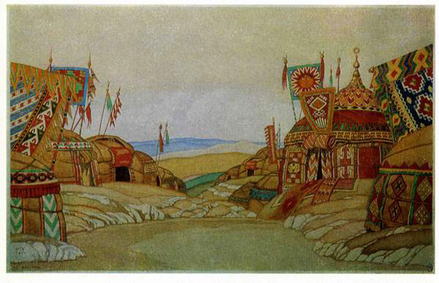 The Polovtsian camp. Stage design for the opera Prince Igor by A. Borodin, 1930. Artist: Bilibin, Ivan Yakovlevich