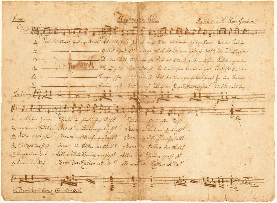 Copy of original composition for Silent Night by Joseph Mohr and Franz Xaver Gruber (December 24, 1818) photo credit Silent Night Association