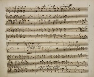 A page from the autograph score of Messiah in the British Library