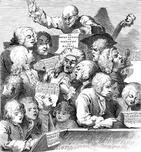 The Chorus (Handel's Choir), singing Willem de Fesch's Oratorio. Engraving. Artist: William Hogarth