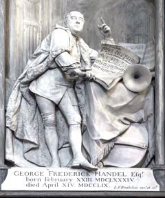 The monument in memory of George Friderick Handel in Westminster Abbey