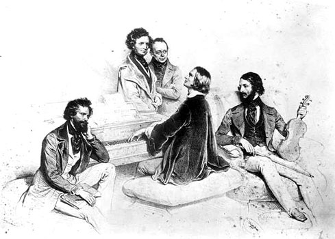Franz Lizst at Piano with Friends (composer Hector Berlioz and Liszt's teacher Carl Czerny (standing), Liszt at the piano and the violinist Heinrich Wilhelm Ernst at his right, the artist Joseph Kreihuber at his left). Lithograph, 1846. Artist: Joseph Kreihuber
