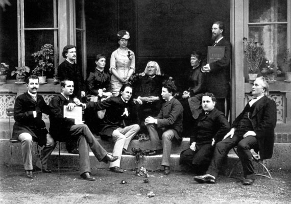 Liszt celebrating his 73rd birthday with some of his students,1884.