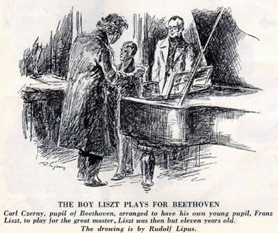 The boy Liszt plays for Beethoven (Czerny introduces his pupil Franz Liszt to Beethoven). Artist: Rudolf Lipus