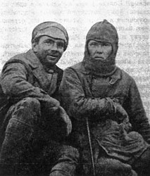 M. Kolyada (right) and S. Shymansky; participation in the Tien Shan campaign in 1929