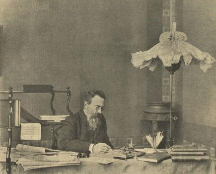 Rimsky-Korsakov in his study, 1908.
