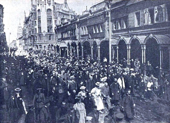 The funeral of Rimsky-Korsakov. Funeral procession on Voznesensky Avenue.