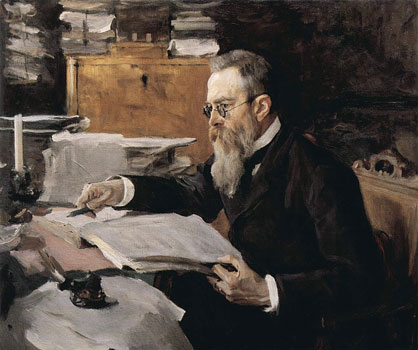 The portrait of Rimsky-Korsakov, 1898. Artist: Valentin Serov