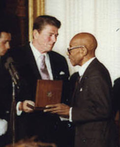 Blake receiving the Presidential Medal of Freedom from Ronald Reagan, 1981.