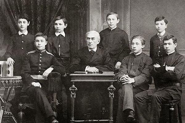 Nikolai Zverev with his students in the late 1880s. Alexander Scriabin (in cadet uniform)