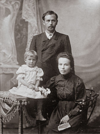 Mykola Leontovych with his wife and daughter