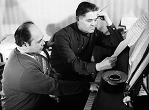 Ukrainian composer Ihor Shamo (left) and poet Dmytro Lutsenko, Kyiv, the 1960s.