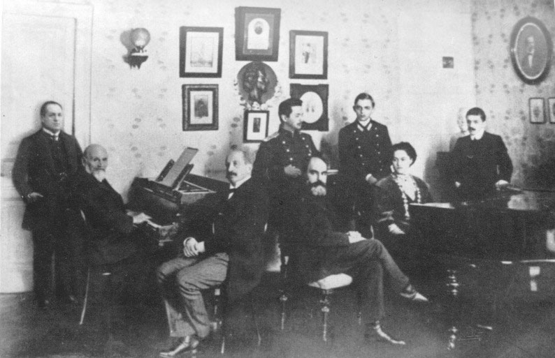 Musical evening at Balakirev's flat, circa 1900.