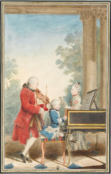 The Mozart family on tour: Leopold, Wolfgang, and Nannerl. Watercolour by Carmontelle, c. 1763